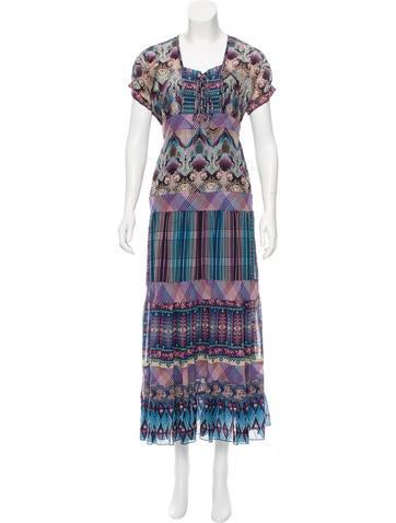 Anna Sui Printed Silk-Accented Dress None
