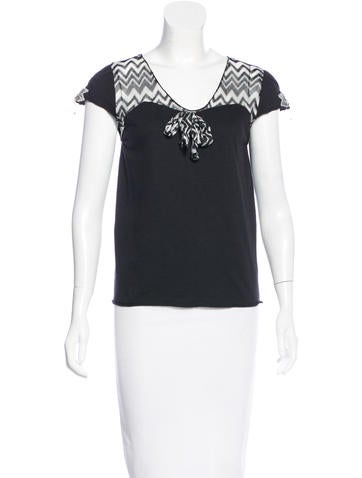 Anna Sui Embellished Chevron Top None