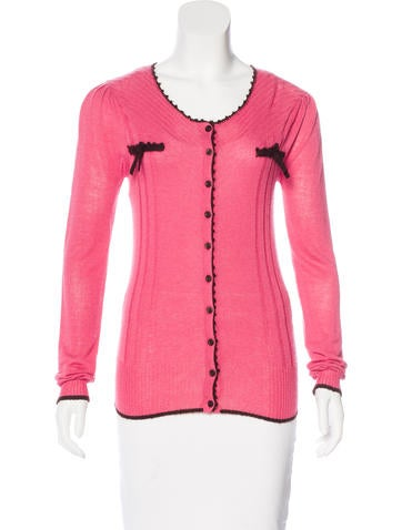 Anna Sui Bow-Accented Rib Knit Cardigan None