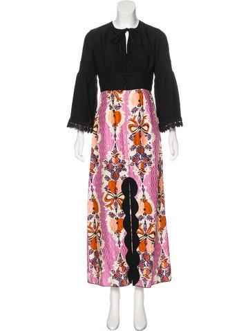 Anna Sui Long Sleeve Maxi Dress None