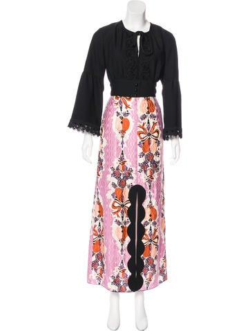 Anna Sui Lace-Trimmed Maxi Dress None