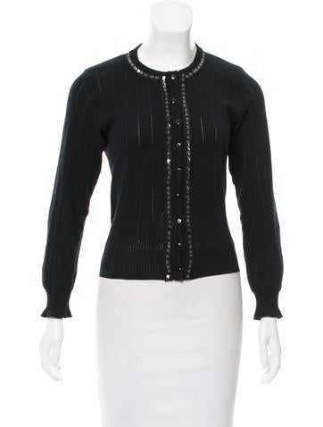Anna Sui Embellished Rib Knit Cardigan None