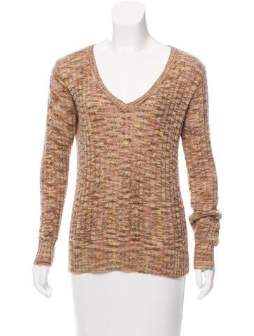 Anna Sui V-Neck Cable Knit Sweater None