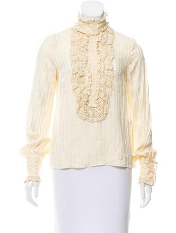 Silk Crochet-Accented Top