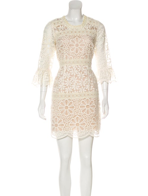 Anna Sui Lace Sheer-Accented Dress beige