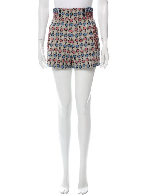 Anna Sui Printed Mini Shorts Blue