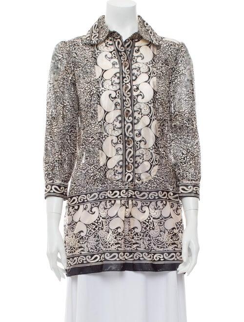 Anna Sui Silk Printed Tunic Metallic