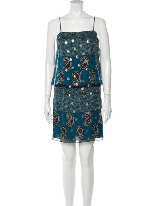 Anna Sui Silk Mini Dress Green