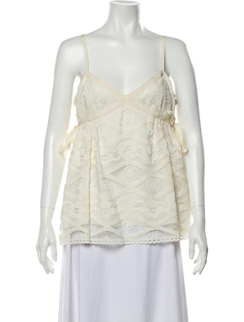 Anna Sui Lace Pattern V-Neck Top