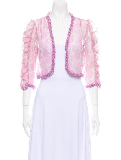 Anna Sui Silk Floral Print Sweater Pink
