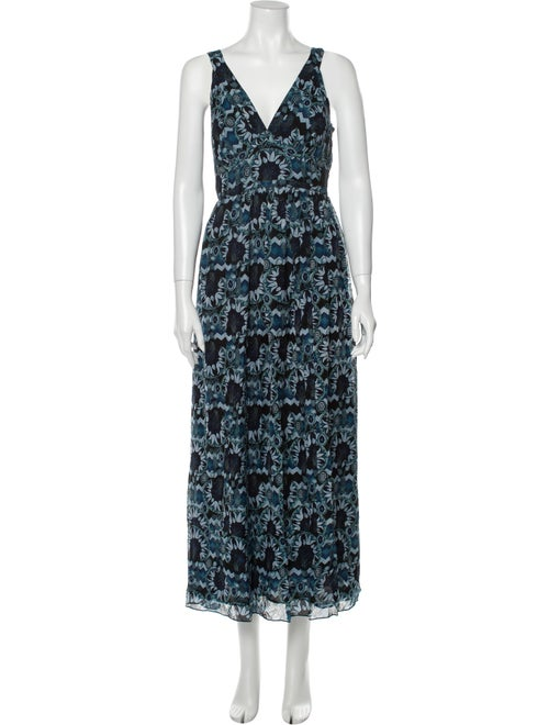 Anna Sui Silk Midi Length Dress Blue