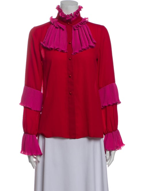 Anna Sui Mock Neck Long Sleeve Blouse Red