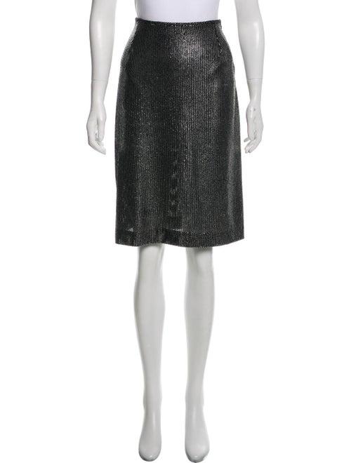 Anna Sui Metallic Knee-Length Skirt Silver