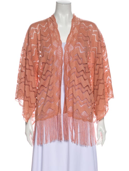 Anna Sui Lace Pattern Open Front Sweater Pink