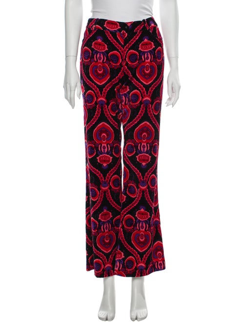 Anna Sui Printed Flared Pants Red