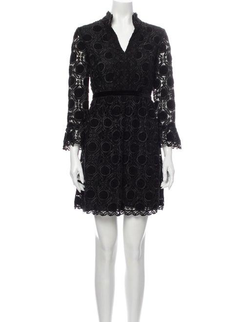 Anna Sui Lace Pattern Mini Dress Black