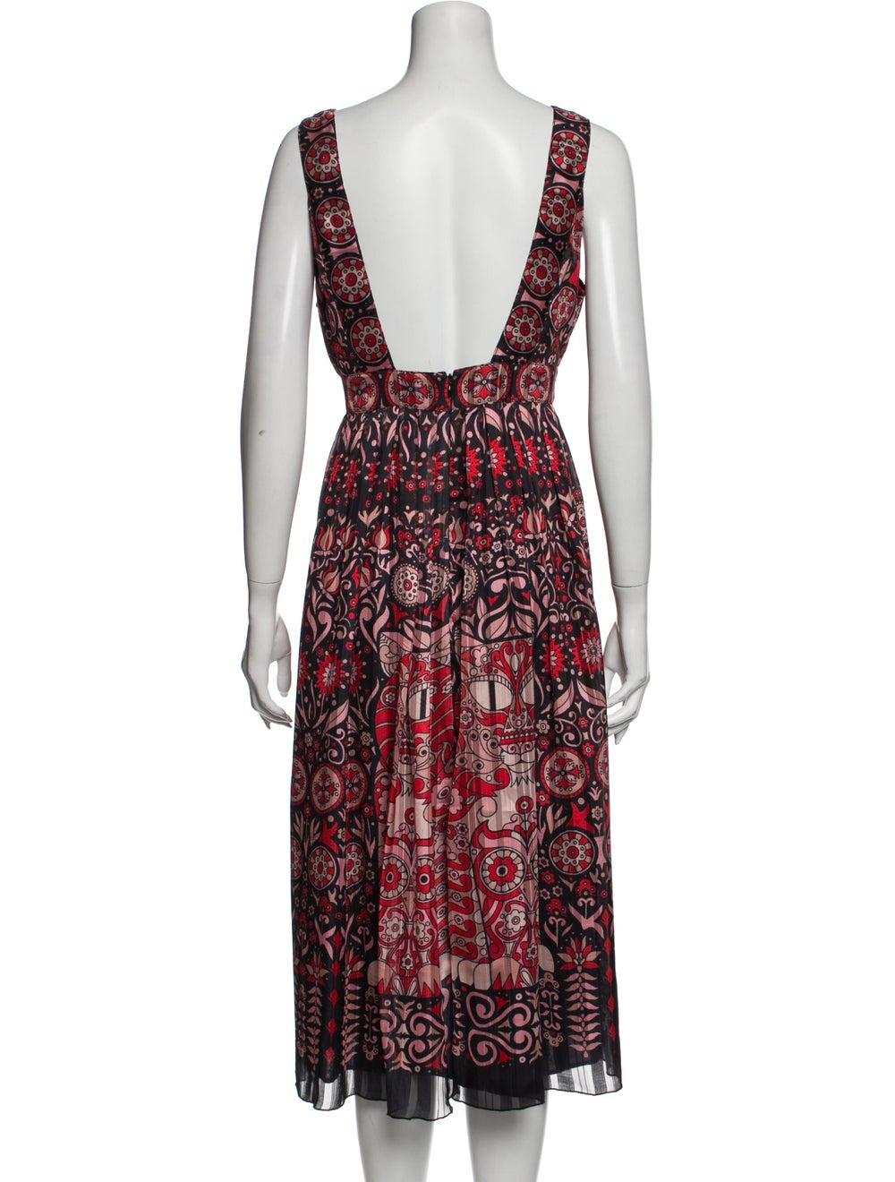 Anna Sui Vintage Midi Length Dress Red - image 3