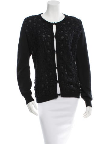 Andrew Gn Long Sleeve Eyelet Cardigan None