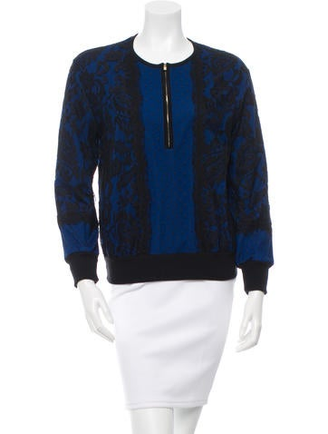 Andrew Gn Lace Overlay Crew Neck Sweater None