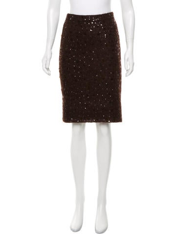 Andrew Gn Sequined Knit Skirt None