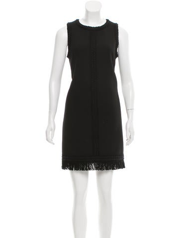 Andrew Gn Fringe-Trimmed Wool Dress