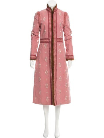 Andrew Gn Mink-Trimmed Embroidered Coat