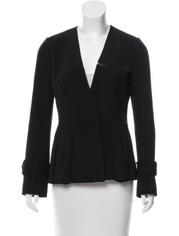 Andrew Gn Pleated Open Knit-Trimmed Jacket None