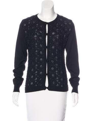 Andrew Gn Linen-Blend Lace-Paneled Cardigan None