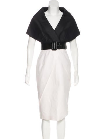 Andrew Gn Belted Two-Tone Dress None