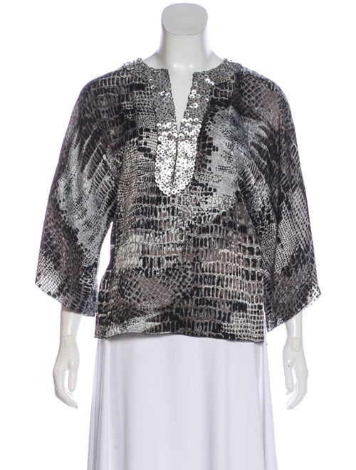 Andrew Gn Silk Printed Blouse Grey