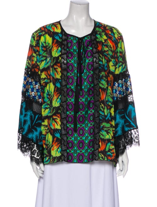 Andrew Gn Silk Floral Print Blouse Green