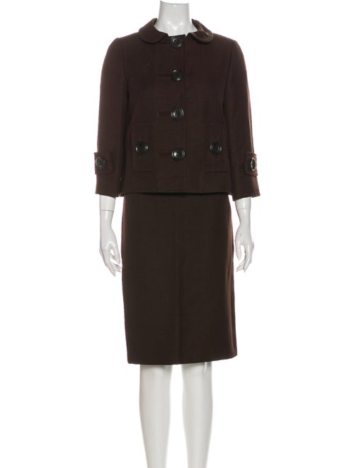Andrew Gn Linen Skirt Suit Brown - image 1