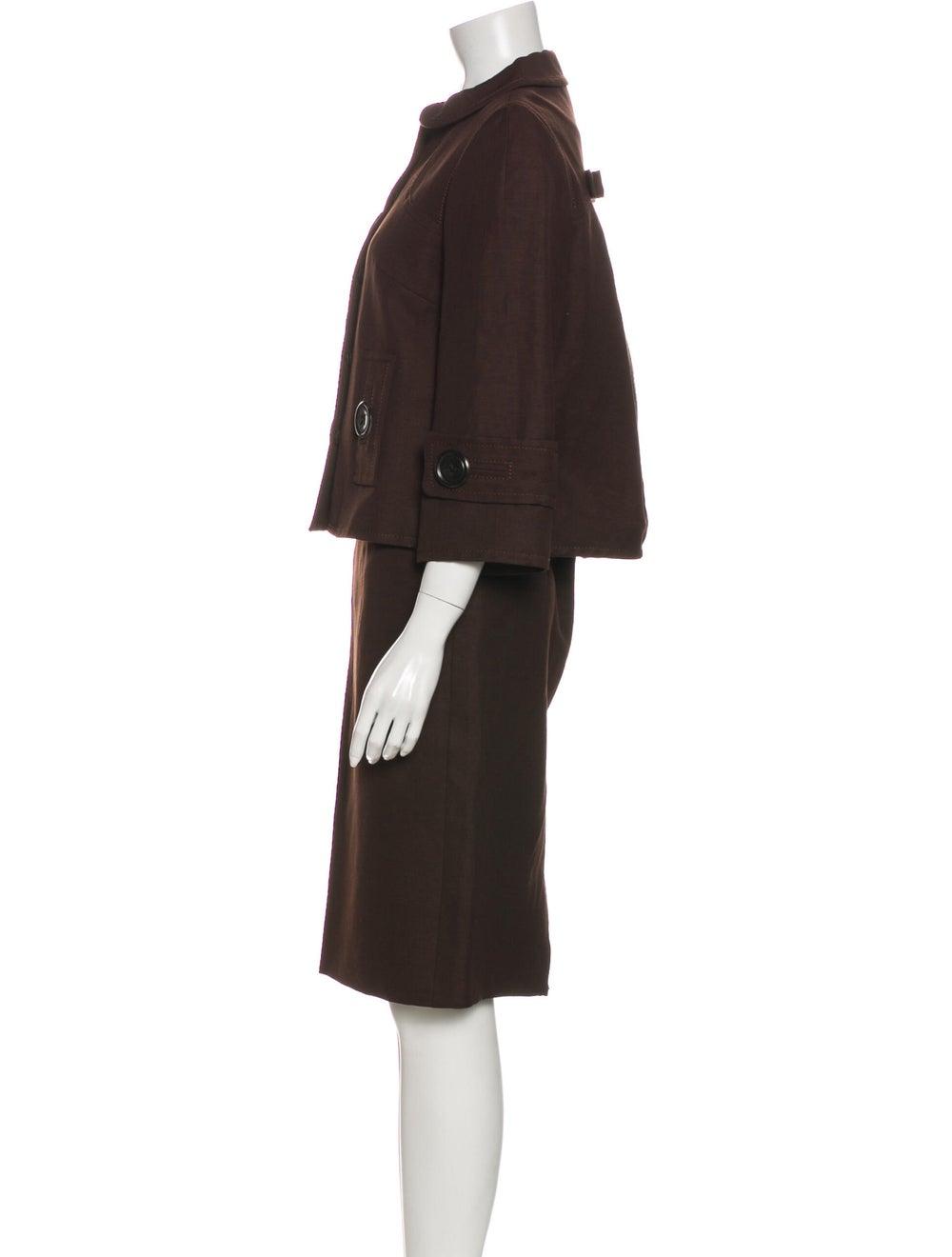 Andrew Gn Linen Skirt Suit Brown - image 2