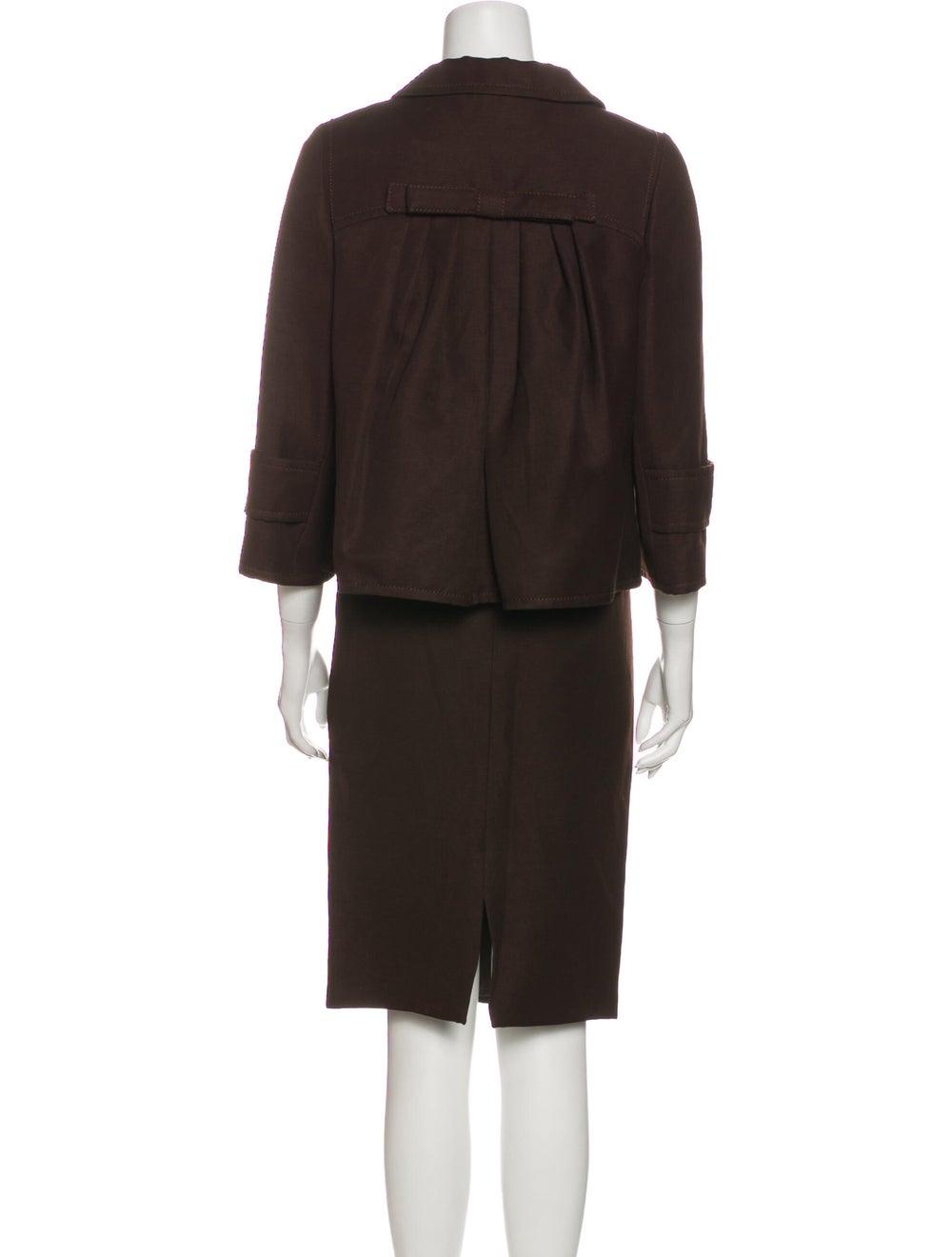 Andrew Gn Linen Skirt Suit Brown - image 3