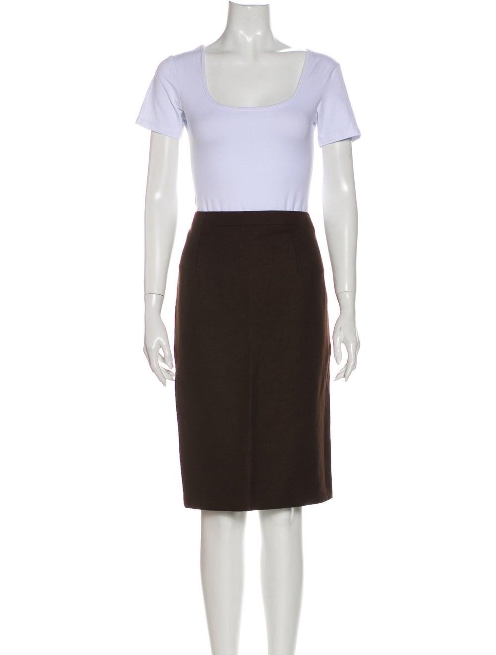 Andrew Gn Linen Skirt Suit Brown - image 4