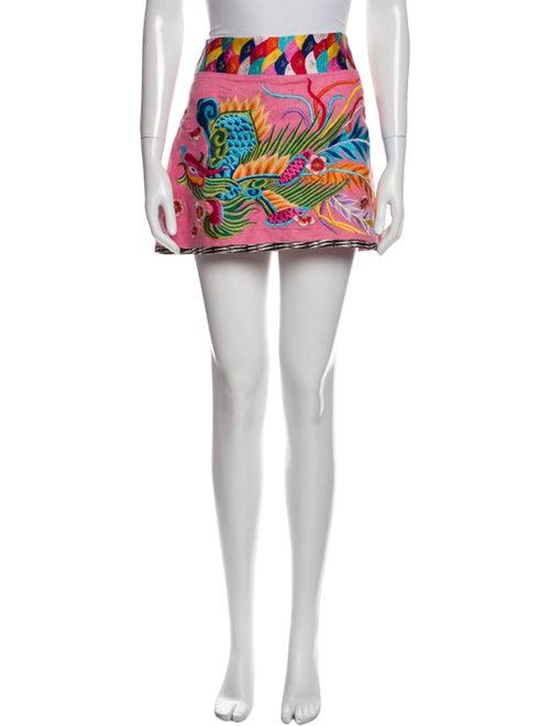 Andrew Gn Linen Mini Skirt Pink