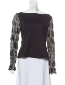 86bb7f9fa81c2 Anne Fontaine. Long Sleeve Ruched Top
