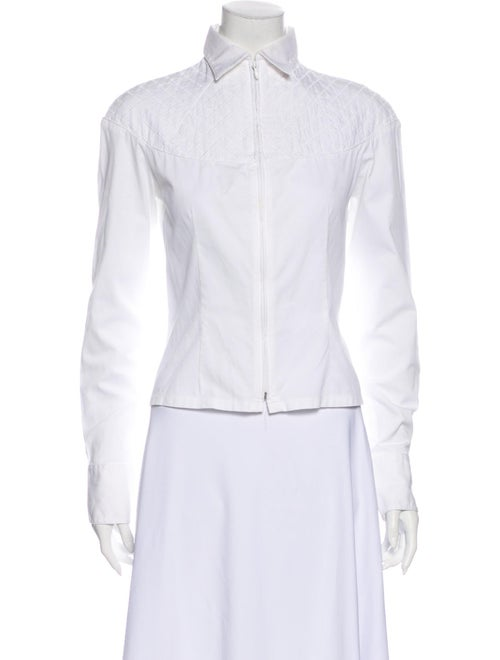Anne Fontaine Long Sleeve Button-Up Top White