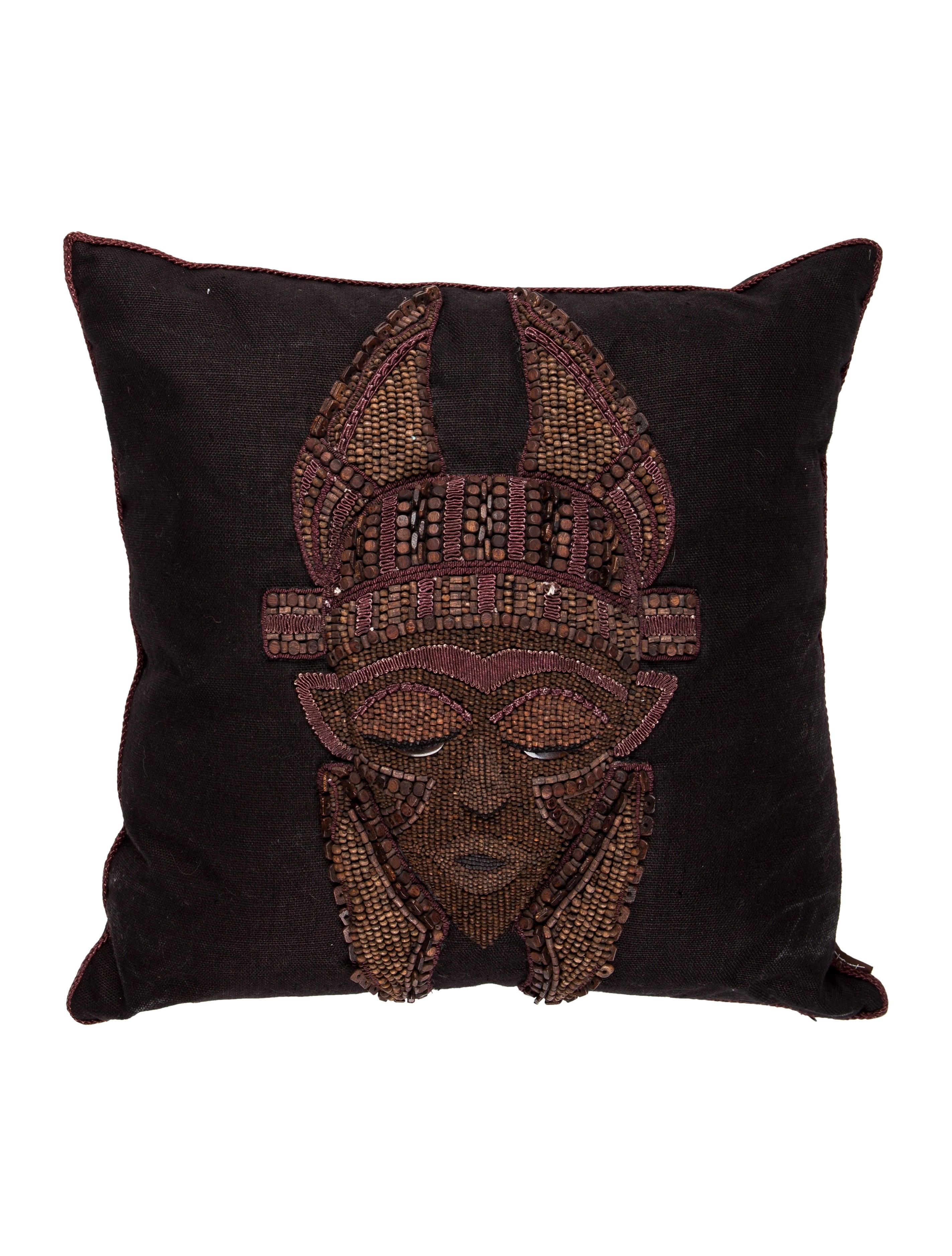 Decorative Pillows With Beading : Ankasa Beaded Mask Throw Pillow - Pillows And Throws - ANKSA20031 The RealReal