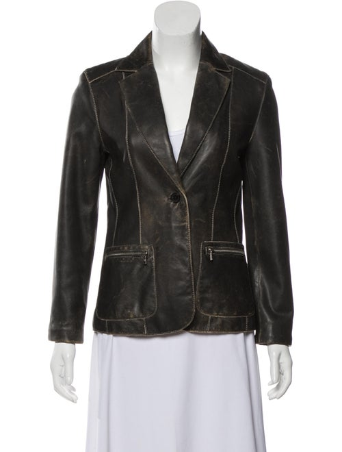 Andrew Marc Leather Blazer Brown