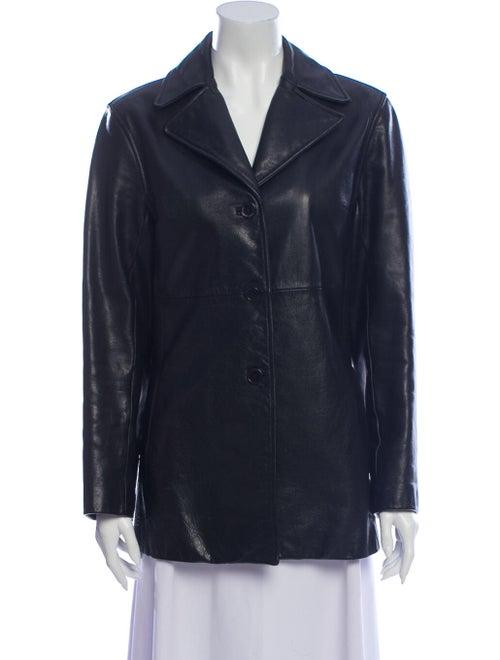 Andrew Marc Leather Blazer Black