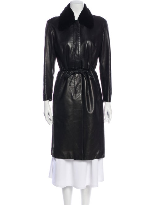 Andrew Marc Leather Trench Coat Black
