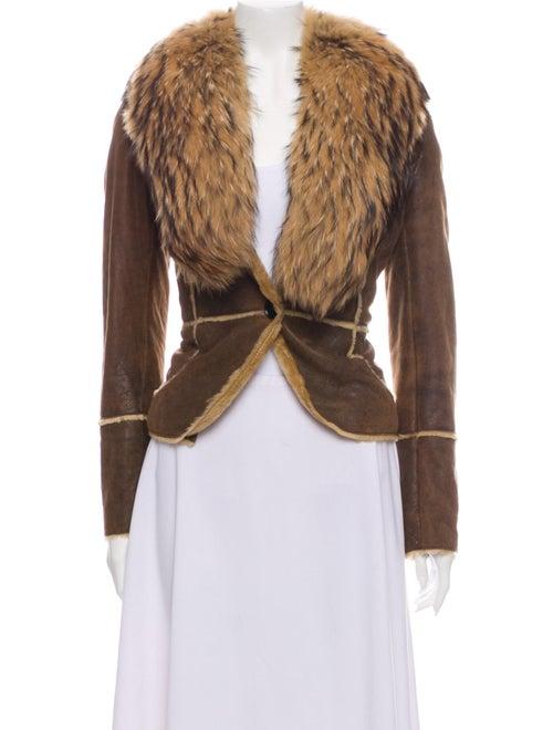 Andrew Marc Fur-Trim Shearling Jacket Brown