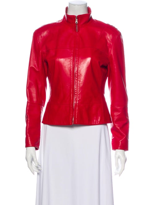 Andrew Marc Leather Biker Jacket Red