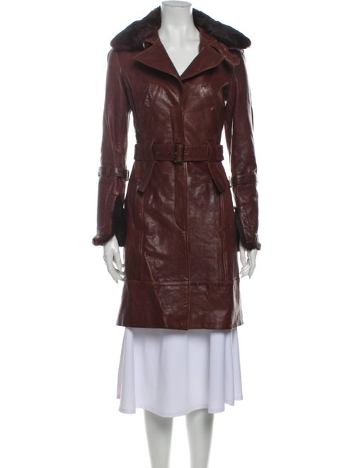 Andrew Marc Leather Trench Coat Brown