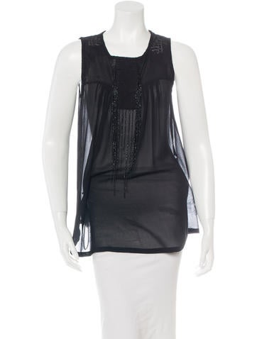 Ann Demeulemeester Silk Beaded Top None