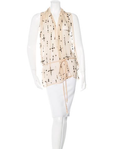Ann Demeulemeester Embellished Silk Top None