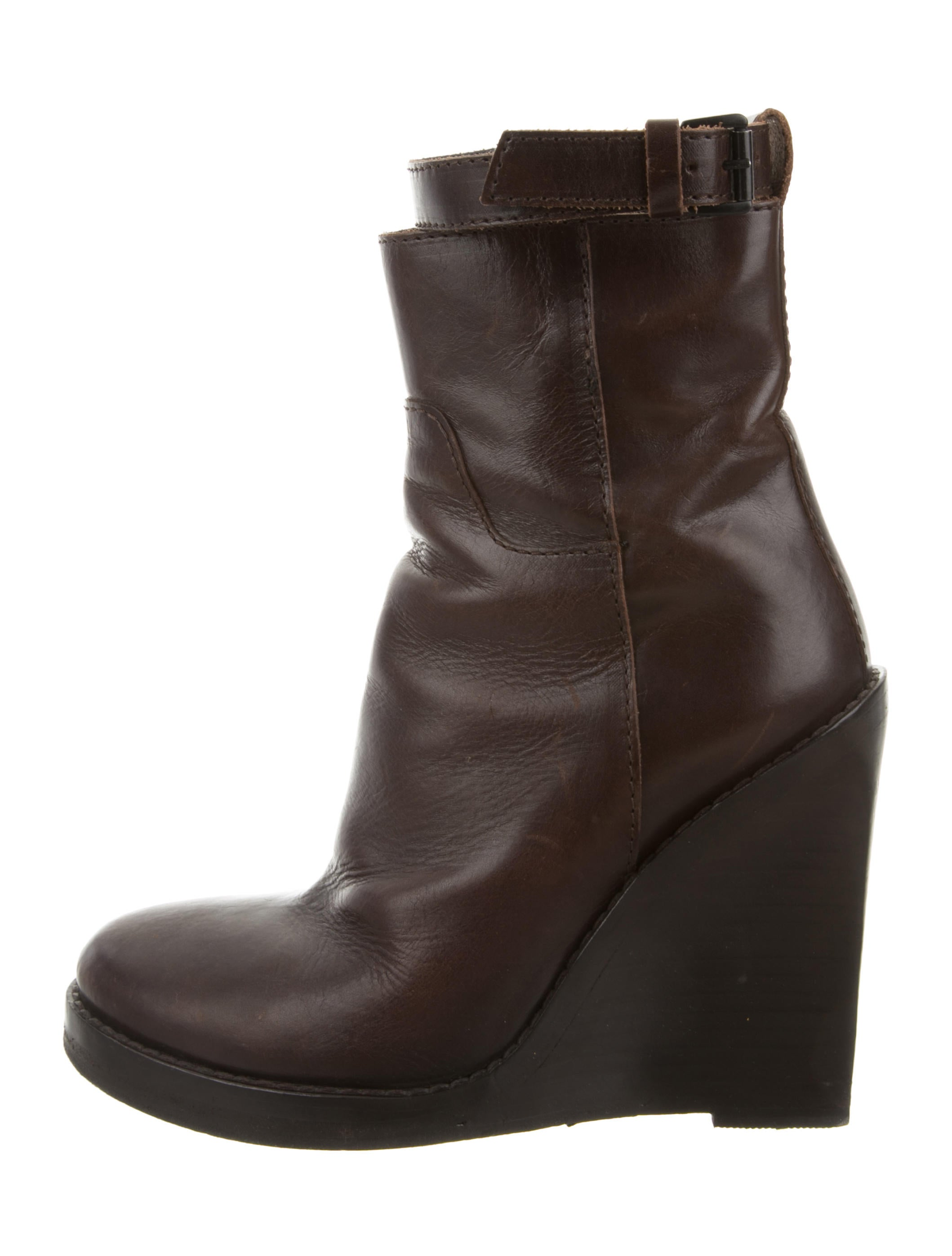 demeulemeester leather wedge ankle boots shoes