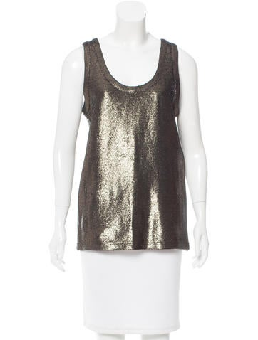 Ann Demeulemeester Linen-Blend Metallic Top w/ Tags None