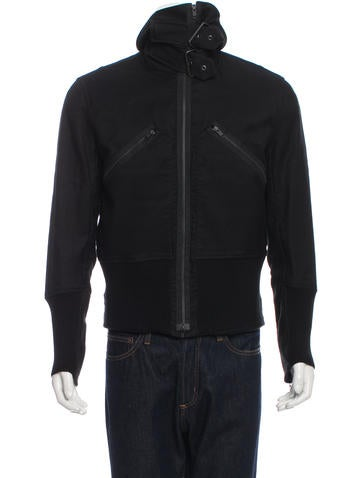 Ann Demeulemeester Rib Knit-Trimmed Funnel Neck Jacket w/ Tags None
